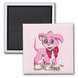 Heart Nose Pink Puppy Cartoon Magnet