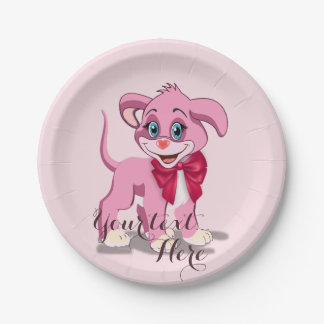 Heart Nose Pink Puppy Cartoon Paper Plate