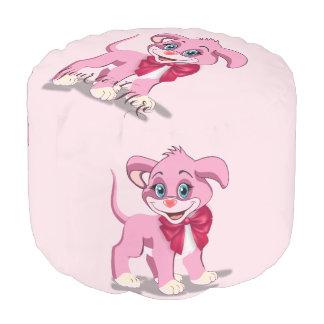 Heart Nose Pink Puppy Cartoon Pouf