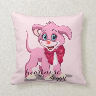 Heart Nose Pink Puppy Cartoon Throw Pillow