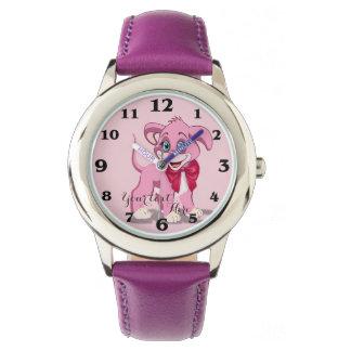 Heart Nose Pink Puppy Cartoon Watch