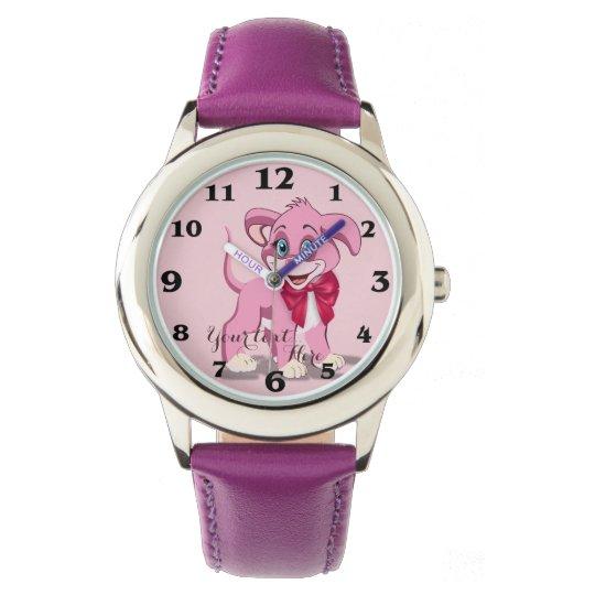 Heart Nose Pink Puppy Cartoon Wrist Watch