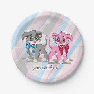 Heart Nose Puppies Cartoon Paper Plate
