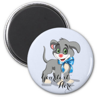 Heart Nose Puppy Cartoon 2 Inch Round Magnet