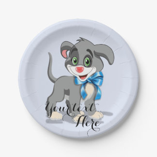 Heart Nose Puppy Cartoon Paper Plate