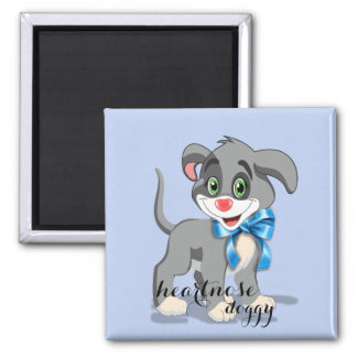 Heart Nose Puppy Cartoon Square Magnet