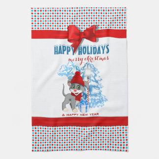 Heart Nose Puppy Christmas Cartoon Kitchen Towel