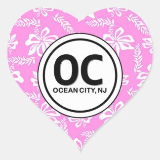 Heart OC Ocean City NJ Pink Flower Stickers