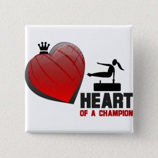 Heart of a Champion Gymnastics 2 Inch Square Button
