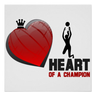 Heart of a Champion  Ladies Volleyball Poster