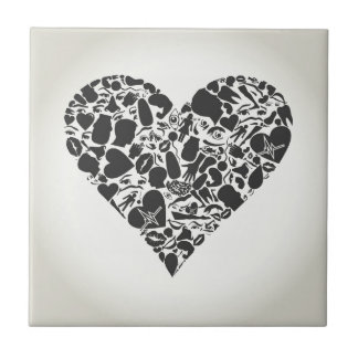 Heart of a part of a body ceramic tiles