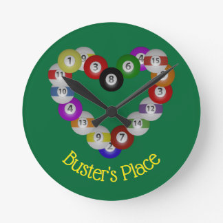 Heart of Billiard Balls Pool Shooter Round Clock