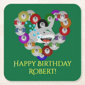 Heart of Billiards Pool Shark Birthday Square Paper Coaster