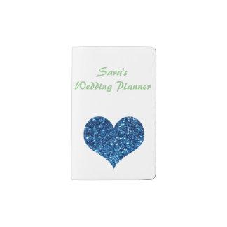 Heart of Blue Glitter Pocket Moleskine Notebook