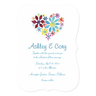 Heart of Flowers Wedding Invitation
