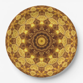 Heart of Gold Mandala Paper Plate