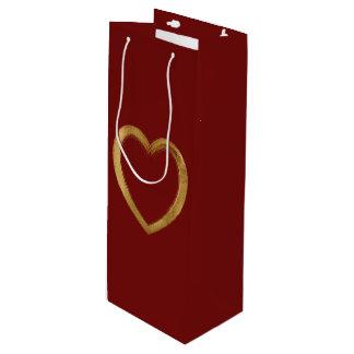 Heart of Gold Valentine Wedding Engagement Love Wine Gift Bag