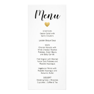 Heart of Gold Wedding Menu Card