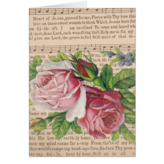Heart of Jesus Music with Pink Roses & Butterflies Greeting Card