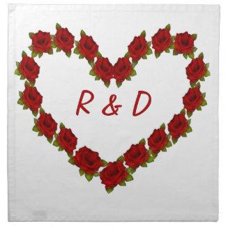 Heart of roses napkin