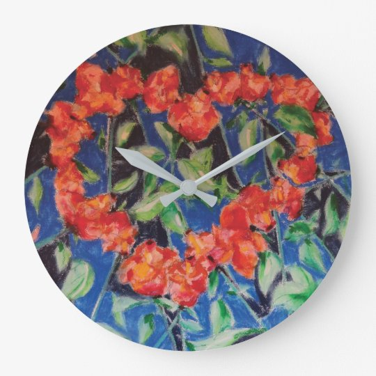 Heart of Roses on the Wall Wall Clocks