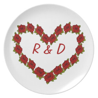 Heart of roses plate