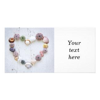 Heart of seashells and rocks photo card