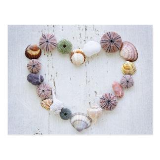 Heart of seashells and rocks postcard