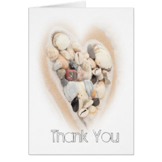 Heart of Seashells Beach Wedding Photo Thank You Card