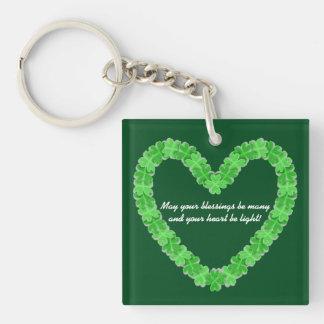 Heart Of Shamrocks Double-Sided Square Acrylic Keychain