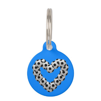 Heart of Soccer Ball Football Pet Name Tag
