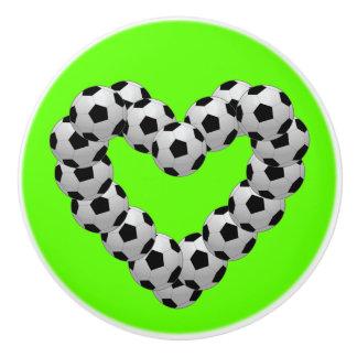 Heart of Soccer Ball Soccer Football Ceramic Knob