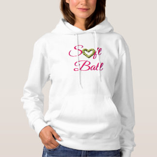 Heart of Softball Heart with Softball Text Hoodie