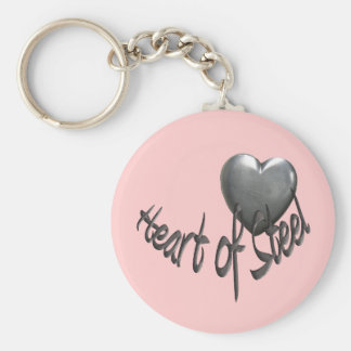 Heart of Steel Basic Round Button Keychain