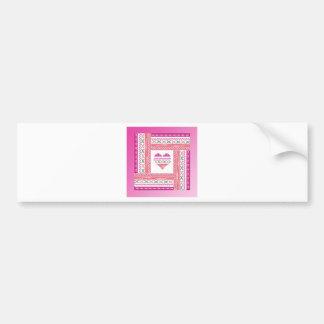 Heart of Trim in Frame of Trim, Pink, Green, Coral Bumper Sticker
