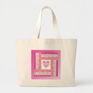 Heart of Trim in Frame of Trim, Pink, Green, Coral Large Tote Bag