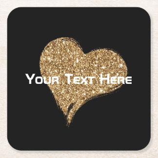Heart O'Gold Square Paper Coaster