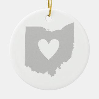 Heart Ohio state silhouette Ceramic Ornament