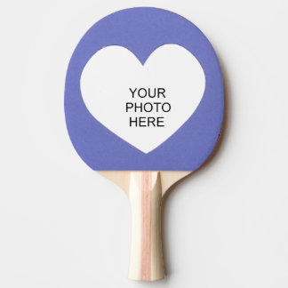 Heart on Blue Add Photo Frame Ping Pong Paddle