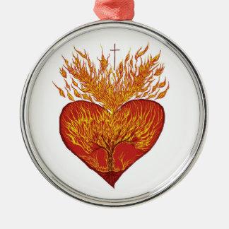 Heart on Fire Metal Ornament