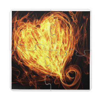 Heart on Fire Puzzle Coaster