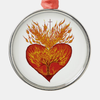 Heart on Fire Silver-Colored Round Ornament