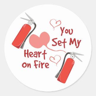 Heart On Fire Round Sticker