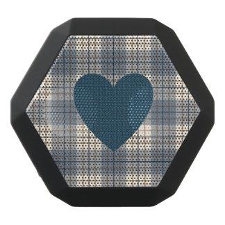 Heart on Plaid Blues Brown Cream Black Bluetooth Speaker