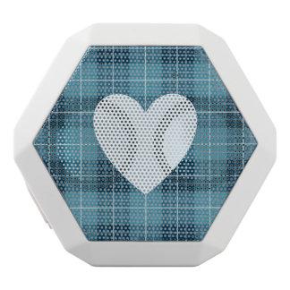 Heart on Plaid Blues II White Bluetooth Speaker