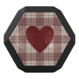 Heart on Plaid Reds & Cream Black Bluetooth Speaker