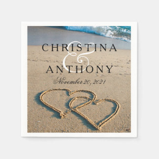 Heart on the Shore Beach Wedding Napkin Paper Napkin