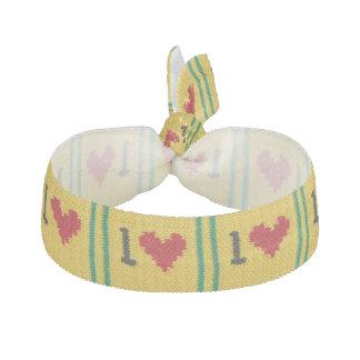Heart One Love Crochet Print Elastic Bracelet or Hair Tie