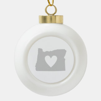 Heart Oregon state silhouette Ceramic Ball Christmas Ornament