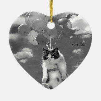 Heart Ornament: Funny cat flying with Balloons Ceramic Ornament